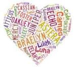 character names in heart shape