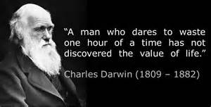 Darwin with dates and quote