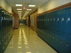 high school lockers in hall