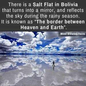 Bolivia mirror reflects sky