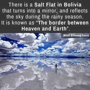 Bolivia mirror reflects sky