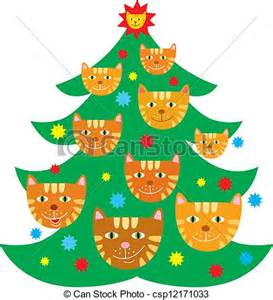 Cat decorated tree drawn