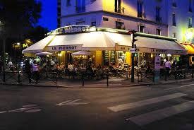 Paris corner cafe at night