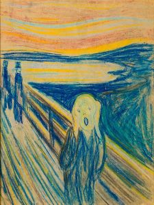 The Scream with two men straight up