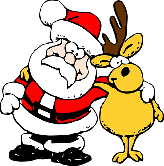 santa & reindeer cartoon